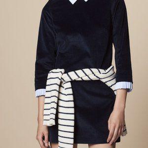Sandro Velvet Ribbed Dress With Shirt Detail Navy